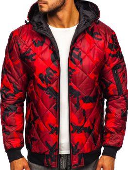 Мужская демисезонная спортивная куртка камуфляж-красная Bolf MY21M