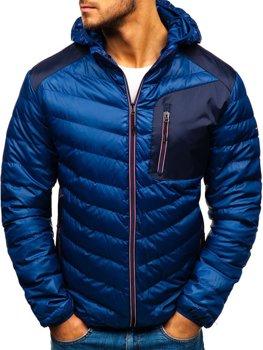 Мужская демисезонная спортивная куртка темно-синяя Bolf 1901