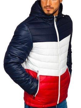 Мужская демисезонная спортивная куртка темно-синяя Bolf 5845