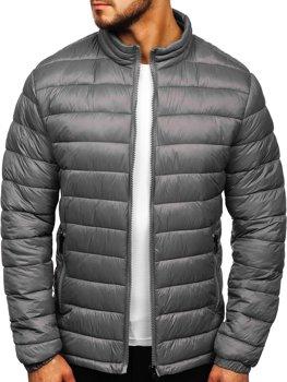 Мужская демисезонная стеганая куртка серая Bolf 1119