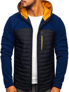 Мужская демисезонная флисовая куртка темно-синяя Bolf YL010