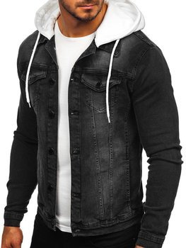 Мужская джинсовая куртка с капюшоном черная Bolf 605
