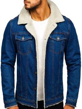 Мужская джинсовая куртка темно-синяя Bolf 1109