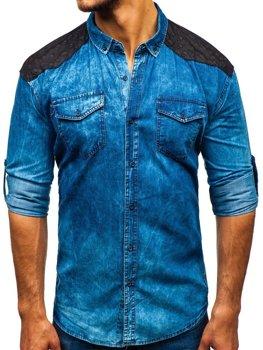 Мужская джинсовая рубашка в узоры с длинным рукавом синяя Bolf 0517