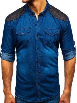 Мужская джинсовая рубашка в узоры с длинным рукавом темно-синяя Bolf 0517