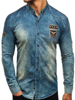 8666cd56e45 Мужская джинсовая рубашка с длинным рукавом темно-сине-серая Bolf 0992