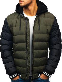Мужская зимняя куртка бомбер зеленая Bolf 5366