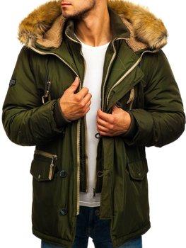 Мужская зимняя куртка парка зеленая Bolf 1045
