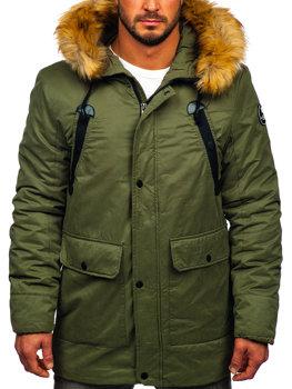 Мужская зимняя куртка парка зеленая Bolf 1791