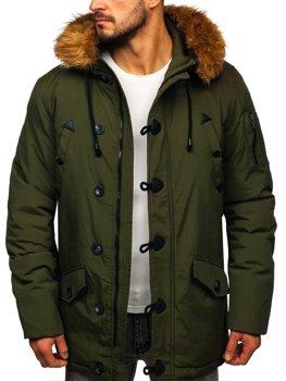Мужская зимняя куртка парка зеленая Bolf 1888