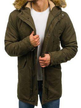 Мужская зимняя куртка парка зеленая Bolf YL001