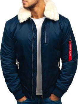 Мужская зимняя куртка парка темно-синяя Bolf 1787