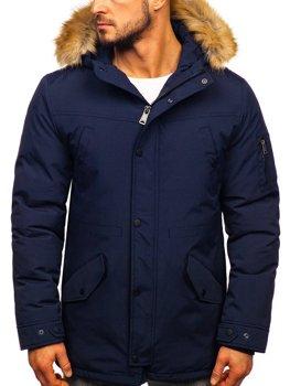 Мужская зимняя куртка парка темно-синяя Bolf 1972