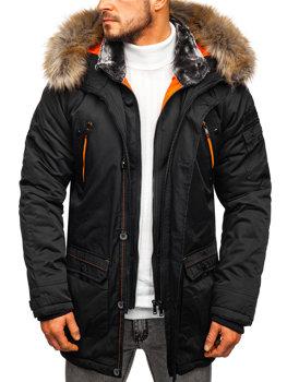 Мужская зимняя куртка парка черная Bolf 1067