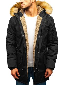 Мужская зимняя куртка парка черная Bolf R103