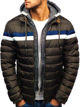 Мужская зимняя куртка хаки Bolf A181