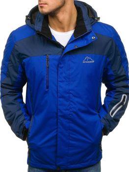 Мужская зимняя лыжная куртка синяя Bolf F806