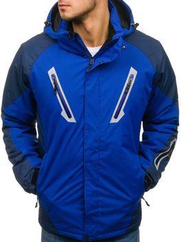 Мужская зимняя лыжная куртка синяя Bolf F809
