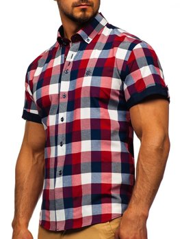 Мужская клетчатая рубашка с коротким рукавом бордовая Bolf 5532