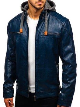 Мужская кожаная куртка темно-синяя Bolf ex706