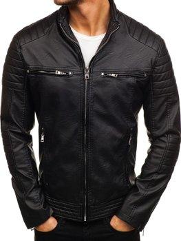 Мужская кожаная куртка черная Bolf 9103