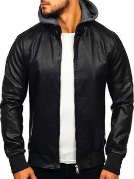Мужская кожаная куртка черная Bolf 92524