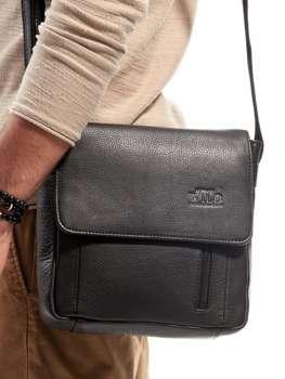 Мужская кожаная сумка из экокожи черная 3013