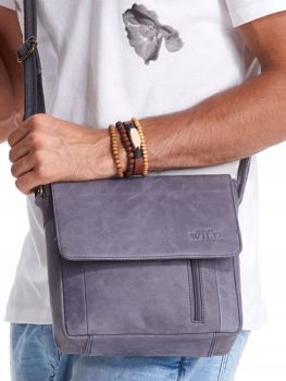 Мужская кожаная сумка темно-синяя 2507