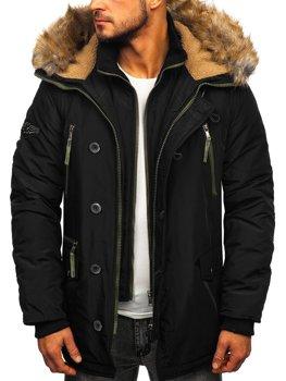 Мужская куртка зимняя парка черная Bolf 1045A
