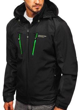 Мужская куртка софтшелл черно-зеленая Bolf P185