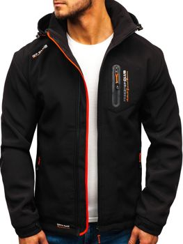 Мужская куртка софтшелл черно-оранжевая Bolf P5608
