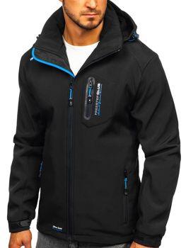 Мужская куртка софтшелл черно-синяя Bol P5608