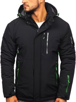 Мужская лыжная куртка черно-зеленая Bolf 1910