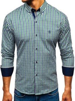 Мужская рубашка виши в клетку с длинным рукавом зелено-темно-синяя Bolf 4712