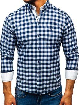 3c2c88c8497 Мужская рубашка в клетку с длинным рукавом бело-темно-синяя Bolf 5816-A