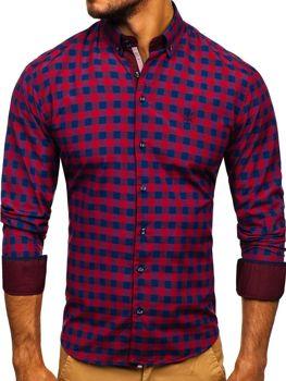 Мужская рубашка в клетку с длинным рукавом бордовая Bolf 4701