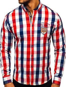 Мужская рубашка в клетку с длинным рукавом красная Bolf 1766-1
