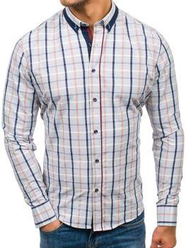 Мужская рубашка в клетку с длинным рукавом серая Bolf 8809
