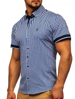 Мужская рубашка в клетку с коротким рукавом васильковая Bolf 4510