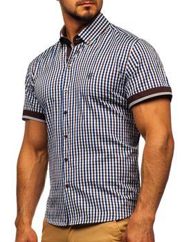 Мужская рубашка в клетку с коротким рукавом коричневая Bolf 4510