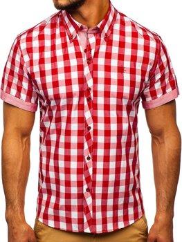 Мужская рубашка в клетку с коротким рукавом красная Bolf 6522