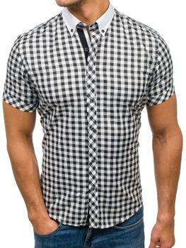 Мужская  рубашка в клетку с коротким рукавом черно-белая Bolf 5207