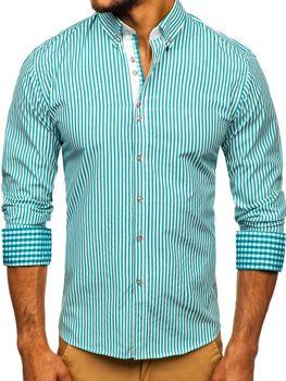 Мужская рубашка в полоску с длинным рукавом зеленая Bolf 9711