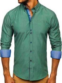 Мужская рубашка в полоску с длинным рукавом зеленая Bolf 9714