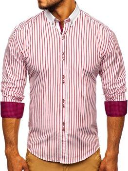 Мужская рубашка в полоску с длинным рукавом красная Bolf 9713