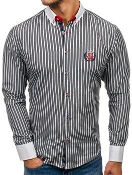 Мужская рубашка с длинным рукавом в полоску графитовая Bolf 1771