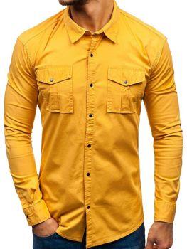 Мужская рубашка с длинным рукавом горчичная Bolf 2058-1