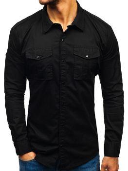 73ff85baad1 Мужская рубашка с длинным рукавом черная Bolf 2058-1