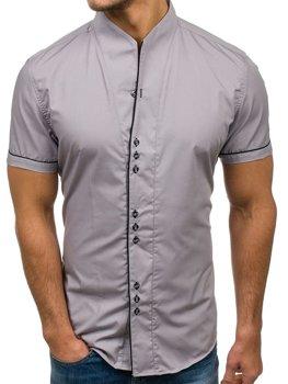 Мужская рубашка с коротким рукавом серая Bolf 5518