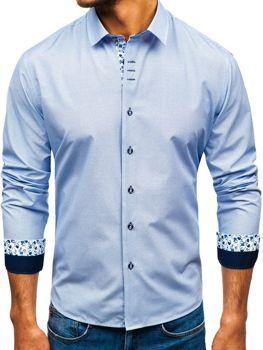 Мужская рубашка с узором с длинным рукавом бело-темно-синяя Bolf 9704